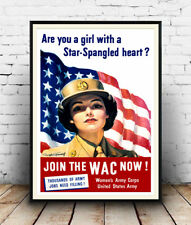 Are you a girl with heart, Vintage USA Wartime advertising Poster reproduction.