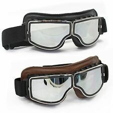 WWII Raf Vintage style Goggles Aviator Pilot Motorcycle Cruiser Scooter GoggleS