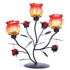Romantic Iron Glass Rose Candle & Tea Light Holder Date Dinner Home Party Decor