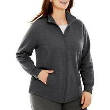 Just My Size Women's Gray Fleece Mock Neck Jacket Size 2X