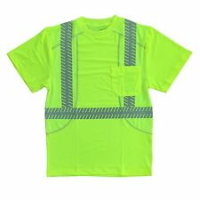 (3 Pair) Class 2 Hi-Viz Lime Green Comfort Stretch Work Shirts Reflective Stripe