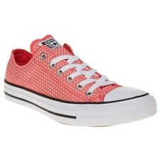 New Womens Converse Red Orange All Star Ox Textile Trainers Canvas Lace Up