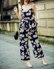 Women Sexy Floral Two-pieces Sets Jumpsuit Sling Tops + Wide Leg Pants Playsuit