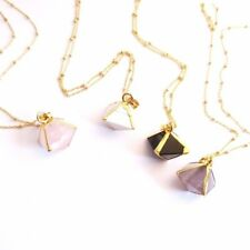 Gemstone Rock Necklace, Octahedron Gem and Gold plated Sterling Silver Necklace