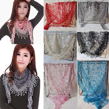 Womens Chiffon Triangle Scarf Sheer Long Floral Print Lace Wrap Shawl Scarves