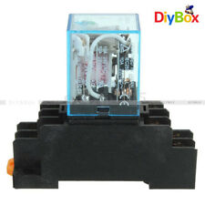 12V DC Coil Power Relay LY2NJ DPDT 8 Pin HH62P JQX-13F With Socket Base New