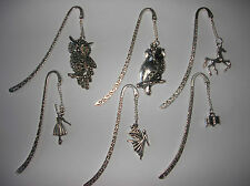 LOVELY TIBETAN SILVER BOOKMARK WITH CUTE HORSE/CAT  OWL ETC CHARM U CHOOSE L@@K
