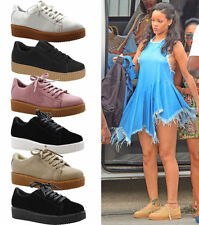 NEW LADIES WOMEN TRAINERS CREEPER CASUAL PUMPS LACE UP FLAT FASHION SHOES SIZE