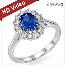 2.13 ct White Gold Princess Lady D Oval Blue Sapphire Engagement Ring 48046017