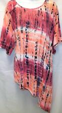 NEW DIRECTIONS WOMEN PLUS SIZE 2X TIE DYE BEADED LONG TUNIC TOP BEACH COVER-UP