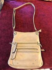 Simply Noelle Sand Zip Messenger Cross Body Purse Shoulder Bag **SOFT LEATHER**