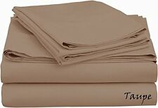 Brand New 800-TC 5-PC Split Sheet Set Taupe Solid 100% Cotton Choose Sizes