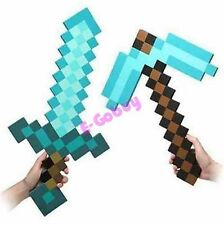 MineCraft Large Blue Diamond Sword Pickaxe Axe EVA Weapons Doll Toys