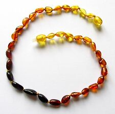 Genuine Baltic amber necklace child children amber baby teen size rainbow beads