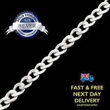 2.1mm Curb - Genuine 925 Real Solid Sterling Silver Chain Necklace