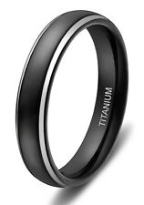 4mm Titanium Ring Half Round Polished Men's Wedding Band Comfort Fit Black