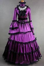 Purple Satin Long Sleeves Black Lace Classic Lolita Dress #408 Costume Cosplay