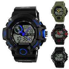Mens Waterproof Digital LED Backlight Alarm Stopwatch Rubber Wrist Watch Proper