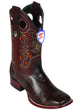Men's Wild West Genuine Ostrich Leg Western Boots Wide Square Toe Leather Sole