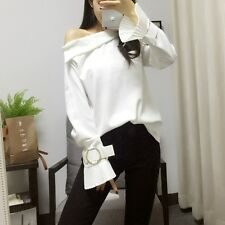 Spring Fashion Sexy Women Korean Off Shoulder Flare Sleeves Shirt Top 3 Color