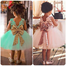 Baby Girl Flower Wedding Party Christening Gown Formal Ruffle Sequins Tutu Dress