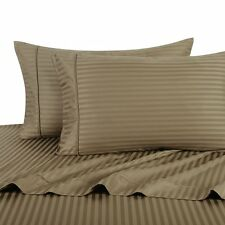 Brand New 800-TC 5-PC Split Sheet Set Taupe Stripe 100%Cotton Choose Sizes