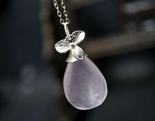 Genuine Wrapped Rose Quartz Necklace, Sterling Silver Rose Quartz Crystal Healin