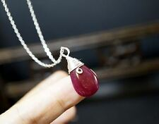 Sterling Silver Ruby Necklace - July Birthstone Necklace - Genuine Teardrop Ruby