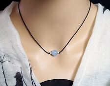 Tiny Blue Chalcedony Choker -Blue Agate Choker Yoga Necklace Single Stone Neckla
