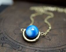 Galaxy Global Necklace - Botswana Agate Choker - Retro Bronze Blue Agate Necklac