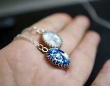 Blue Opal Necklace Full Sterling Silver Galaxy Starry Night Van Gogh Fire Opal
