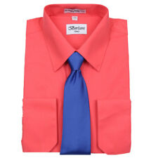 Men's Berlioni Business French Cuff Tie Set Coral Dress Shirt And Royal Blue Tie