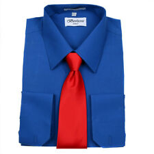 Men's Berlioni Business French Cuff Tie Set Royal Blue Dress Shirt And Red Tie