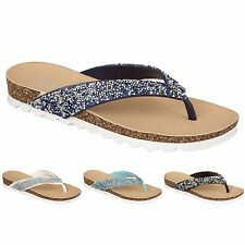 LADIES WOMEN DIAMANTE JEWEL ENCRUSTED STRAP FLAT WEDGE TOE POST SANDAL BIJOUX