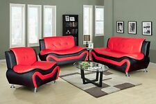 Beverly Furniture 3-Piece Contemporary Synthetic Leather Living Room Sofa Set