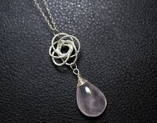 Yoga Necklace - Rose Quartz Necklace - Rose Flower Charm - Sterling Silver Rose