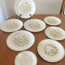 CORELLE SPRING MEADOW, WILDFLOWER (POPPY) PLATES SAUCERS CUPS