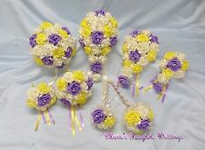 WEDDING FLOWERS BRIDE BRIDESMAID F/GIRL BOUQUET WAND PACKAGE YELLOW +SWEET LILAC