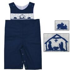 Boys Overalls Navy Blue Smocked Nativity Christmas Boys Babeeni NWT 9 Months