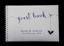 """A5 Personalised Guest Book """"Heart  Strings"""" in Window Box + Optional Sign"""