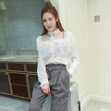Women's Fashion Lace Spliced Long Sleeve See-Though Ruffle Blouse Tops OL Shirt