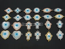 Zircon Gemstones Pave Lucky Eye Mother Of Pearl MOP Shell Connector Charm Beads