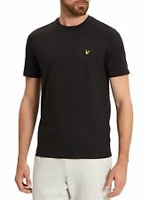 Lyle & Scott Mens Crew Neck Slim Fit T-shirt Plain Crew Neck Cotton Tee Black