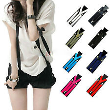 Colorful Unisex Mens Womens Adjustable Braces Elastic Y-Shape Clip-on Suspenders