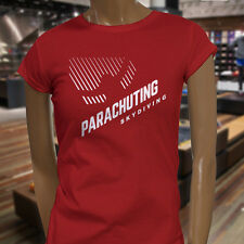 PARACHUTING SKYDIVING EXTREME SPORT FLYING HIGH Womens Red T-Shirt