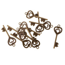 10pcs Vintage old look Double Heart Key Charms Alloy Pendants DIY Making Crafts