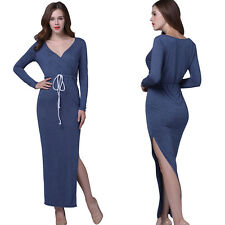2017 New Fashion European Style Long-sleeved Dress Womens Split Pencil Dress XP