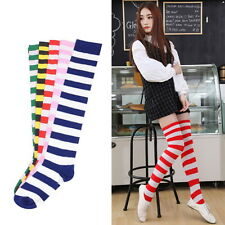 Fashion Sexy Women Girl Thigh High Striped Over Knee Socks Cotton Stockings FT G