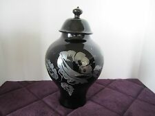 Vintage Fenton Glass Hand Painted Silver Overlay  Black Covered Urn Vase Signed