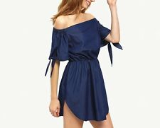 Sexy Slash Neck Off Shoulder Summer Women Dress Elastic Irregular Hem Dress New